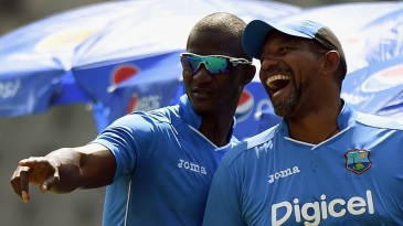 Darren Sammy and a high-spirited Phil Simmons at practice