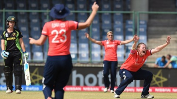 Anya Shrubsole appeals for an lbw against Ellyse Perry