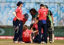 Natalie Sciver is attended to after being hit, Australia v England, Women's World T20 2016, 1st semi-final, Delhi, March 30, 2016