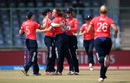 Natalie Sciver celebrates with team-mates after picking up a wicket, Australia v England, Women's World T20 2016, 1st semi-final, Delhi, March 30, 2016