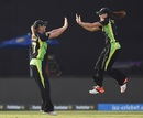 Megan Schutt and Meg Lanning celebrate Australia's win, Australia v England, Women's World T20 2016, 1st semi-final, Delhi, March 30, 2016