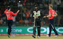 David Willey celebrates the dismissal of Martin Guptill, England v New Zealand, World T20 2016, semi-final, Delhi, March 30, 2016