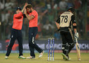 Liam Plunkett is congratulated after picking up Colin Munro, England v New Zealand, World T20 2016, semi-final, Delhi, March 30, 2016