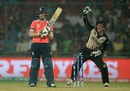 Luke Ronchi appeals for the wicket of Eoin Morgan, England v New Zealand, World T20 2016, semi-final, Delhi, March 30, 2016