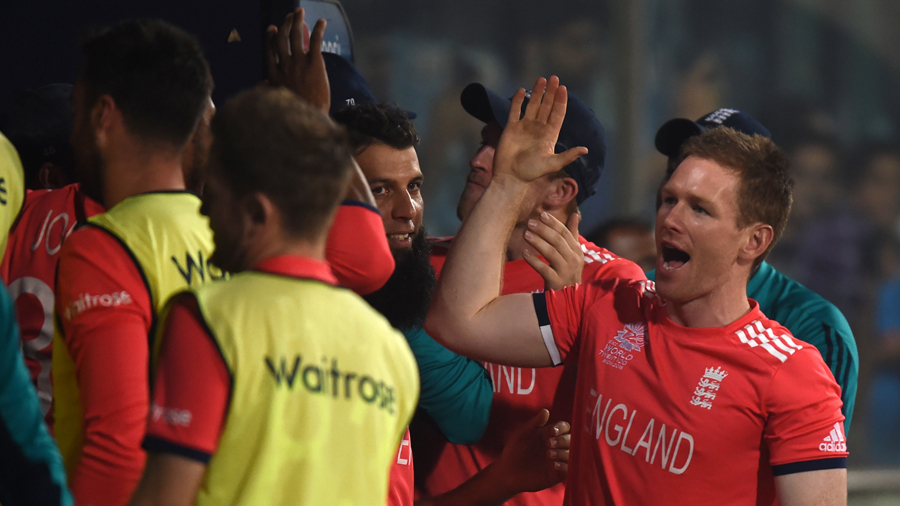 Eoin Morgan gives high fives all round after England's crushing win