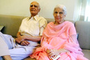 Deepak Shodhan, India's oldest living Test cricketer, with his wife Gauri in their home in Ahmedabad, March 2016