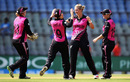Sophie Devine celebrates one of her four wickets, New Zealand v West Indies, Women's World T20, semi-final, Mumbai, March 31, 2016