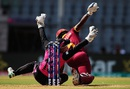 Rachel Priest collides with Deandra Dottin as she attempts to takes a catch, New Zealand v West Indies, Women's World T20, semi-final, Mumbai, March 31, 2016