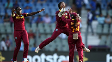 Merissa Aguilleira jumps up in delight as she celebrates West Indies' six-run win
