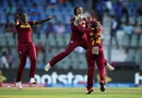 Merissa Aguilleira jumps up in delight as she celebrates West Indies' six-run win, New Zealand v West Indies, Women's World T20, semi-final, Mumbai, March 31, 2016