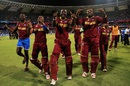 The West Indies team celebrate after reaching the final, India v West Indies, World T20 2016, semi-final, Mumbai, March 31, 2016
