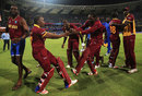 Dwayne Bravo and Chris Gayle showcase their moves after West Indies' win, India v West Indies, World T20 2016, semi-final, Mumbai, March 31, 2016