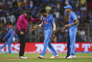Hardik Pandya retrieves the ball from umpire Richard Kettleborough after the wicket of Lendl Simmons was nullified by a no-ball, India v West Indies, World T20 2016, semi-final, Mumbai, March 31, 2016