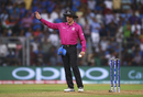 Umpire Richard Kettleborough signals a no-ball, overturning R Ashwin's dismissal of Lendl Simmons on 18, India v West Indies, World T20 2016, semi-final, Mumbai, March 31, 2016