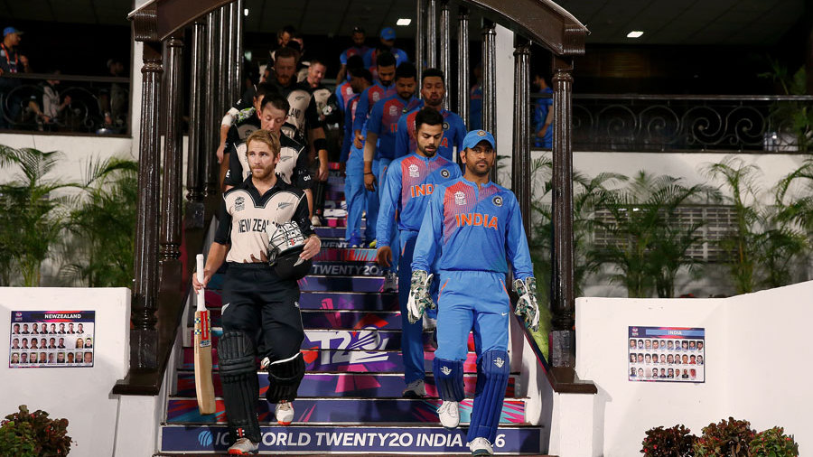 New Zealand and India make their way out for the Super 10 opener