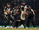 New Zealand players celebrate a wicket with Ish Sodhi, India v New Zealand, World T20 2016, Group 2, Nagpur, March 15, 2016