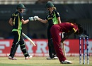 Elyse Villani and Meg Lanning punch gloves during their partnership, Australia v West Indies, Women's World T20, final, Kolkata, April 3, 2016