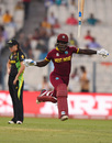 Deandra Dottin tosses her bat away after the winning runs are hit, Australia v West Indies, Women's World T20, final, Kolkata, April 3, 2016