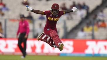 Deandra Dottin leaps for joy after West Indies complete their win
