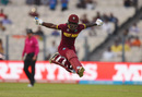 Deandra Dottin leaps for joy after West Indies complete their win, Australia v West Indies, Women's World T20, final, Kolkata, April 3, 2016
