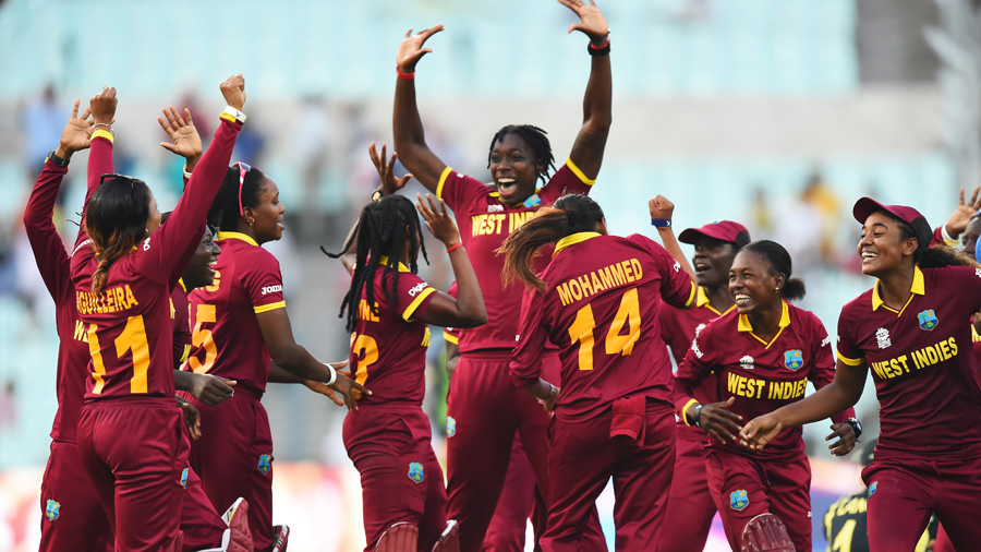 There are high fives all round after West Indies Women's triumph