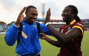 Dwayne Bravo congratulates Stafanie Taylor, Australia v West Indies, Women's World T20, final, Kolkata, April 3, 2016
