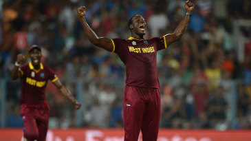 Carlos Brathwaite is pumped after removing Jos Buttler