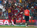 West Indies players are ecstatic after the wicket of Joe Root, England v West Indies, World T20, final, Kolkata, April 3, 2016