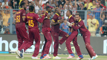 West Indies celebrate the dismissal of Ben Stokes