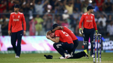 Ben Stokes is consoled after a difficult final over