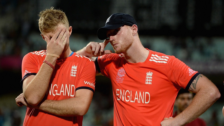 A disconsolate Joe Root and Ben Stokes at the presentation