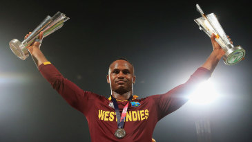 Who's the boss?: Player of the match Marlon Samuels soaks in the moment