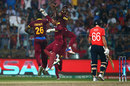 Carlos Brathwaite, Denesh Ramdin and Darren Sammy celebrate the wicket of Joe Root, England v West Indies, World T20, final, Kolkata, April 3, 2016