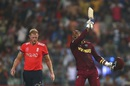 Marlon Samuels is ecstatic after one of Carlos Brathwaite's sixes in the last over, England v West Indies, World T20, final, Kolkata, April 3, 2016