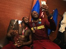 Celebrations spill over into the dressing room, where Chris Gayle and Sulieman Benn are all smiles, England v West Indies, World T20, final, Kolkata, April 3, 2016
