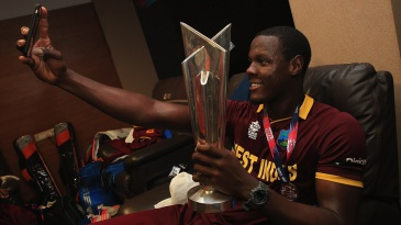 Carlos Brathwaite celebrates West Indies' World T20 win with a selfie in the dressing room