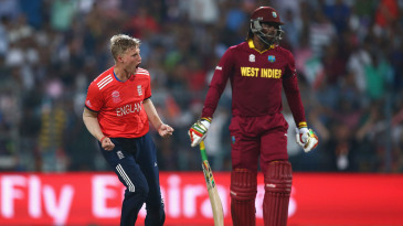 Chris Gayle is dismissed by Joe Root
