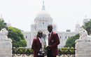 West Indies captains Stafanie Taylor and Darren Sammy with the World T20 trophies, Kolkata, April 4, 2016
