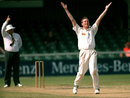 Mark Ilott celebrates a wicket, Border v England XI, East London, November 1995