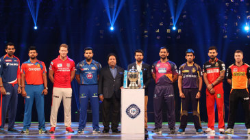 Captains of the IPL franchises pose with the trophy during the opening ceremony
