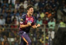 Mitchell Marsh is pumped up after picking up a wicket, Mumbai Indians v Rising Pune Supergiants, IPL 2016, Mumbai, April 9, 2016
