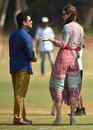 The Duchess of Cambridge chats with Sachin Tendulkar during a visit to Mumbai, April 10, 2016