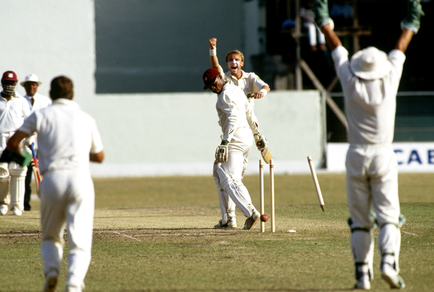 Keith Arthurton is bowled by Allan Donald for 22 in the second innings