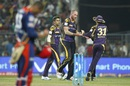 John Hastings celebrates with team-mates after picking up a wicket, Kolkata Knight Riders v Delhi Daredevils, IPL 2016, Kolkata, April 10, 2016
