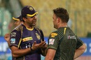 Knight Riders support staff members Wasim Akram and Jacques Kallis talk ahead of the match, Kolkata Knight Riders v Delhi Daredevils, IPL 2016, Kolkata, April 10, 2016