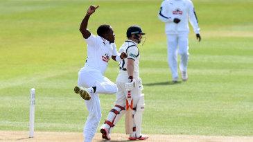 Fidel Edwards celebrates an early wicket
