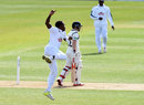 Fidel Edwards celebrates an early wicket, Hampshire v Warwickshire, Specsavers County Championship, Division One, Ageas Bowl, 3rd day, April 12, 2016