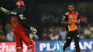 Bhuvneshwar Kumar has Chris Gayle bowled off his thigh pad