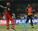 Bhuvneshwar Kumar has Chris Gayle bowled off his thigh pad, Royal Challengers Bangalore v Sunrisers Hyderabad, IPL 2016, Bangalore, April 12, 2016