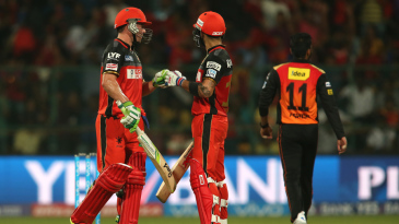 Virat Kohli and AB de Villiers punch gloves during their blistering partnership